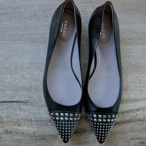 GUCCI black leather studded pointed ballet flats